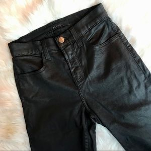 J Brand Black Waxed Skinny Jeans